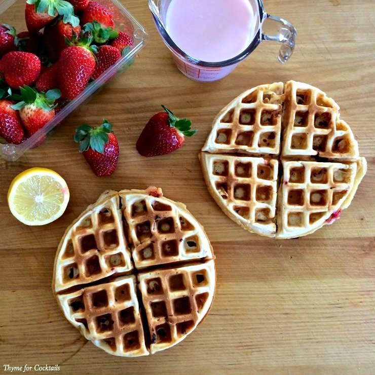 Triple Strawberry Waffles~ Thyme for Cocktails