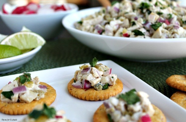Green Chile Chicken Salad on crackers