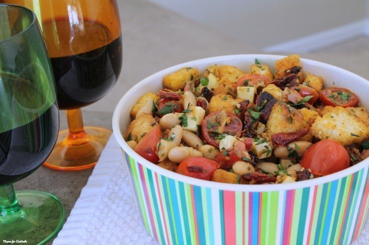 Rosemary White Bean Panzanella Salad~ Thyme for Cocktails.com