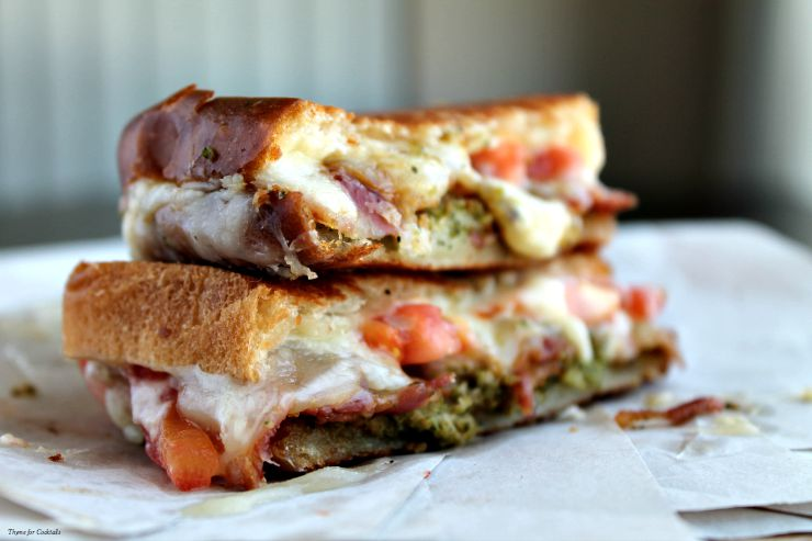 Charred Broccoli Pesto Grilled Cheese~ Thyme for Cocktails