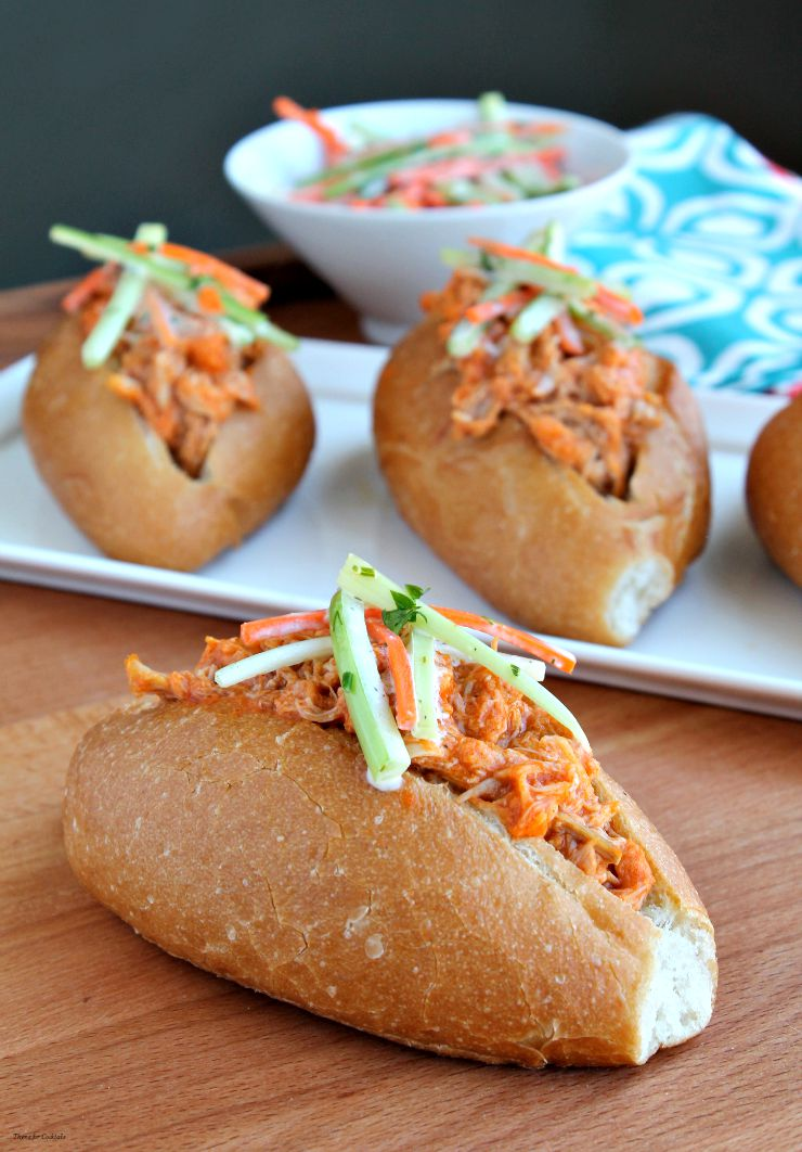 Mini Buffalo Chicken Subs with Ranch Slaw~ Thyme for Cocktails
