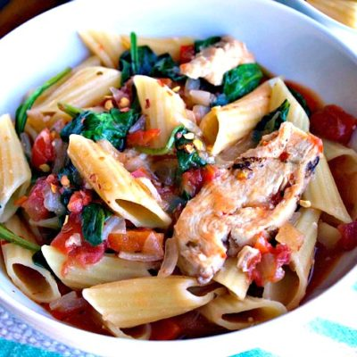 ad Italian Chicken and Spinach Pasta Skillet
