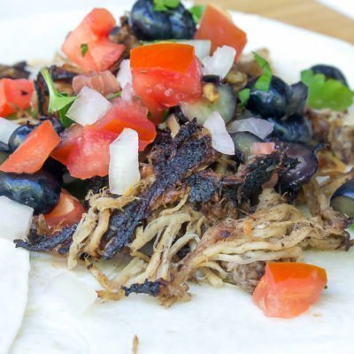 Boozy Blueberry Carnitas Soft Tacos