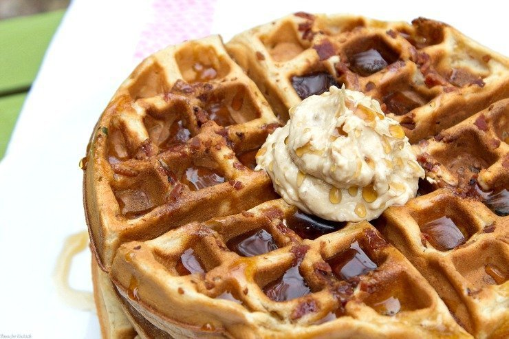 Peanut Butter Banana Bacon Waffles ~ Thyme for Cocktails