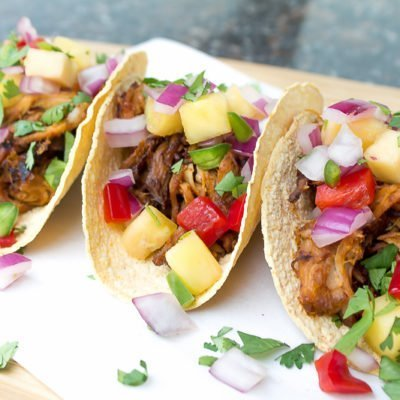 Hawaiian Pulled Pork Tacos with Pineapple Salsa