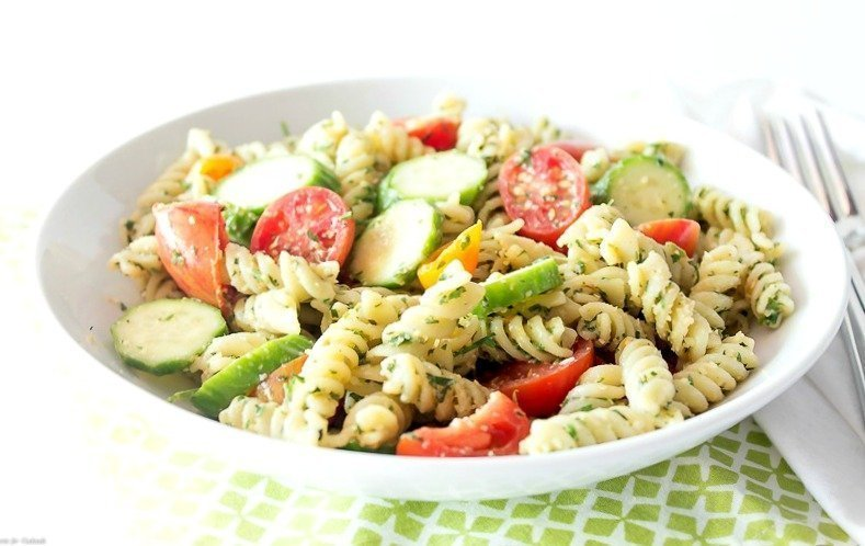 Carrot Top Pesto Pasta Salad