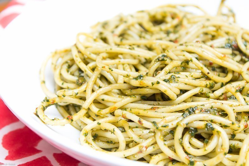 Spicy Spinach Pesto Pasta ~ Thyme for Cocktails