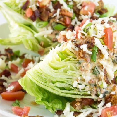Wedge Salad with Sun Dried Tomato Bacon Ranch Vinaigrette