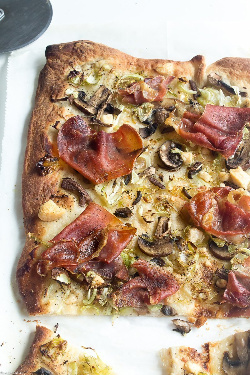 I was inspired to make this Pancetta Brussels Sprouts Pizza with the fresh, local ingredients I found at North Market, a historic indoor market located in the heart of Columbus