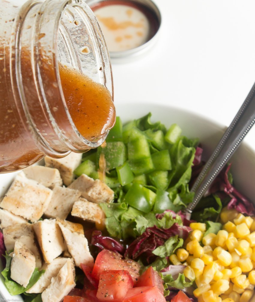 This Sweet Tangy Barbecue Vinaigrette has hints of brown sugar, garlic, and fresh black pepper; drizzle over your favorite salad for a summer show stopper.