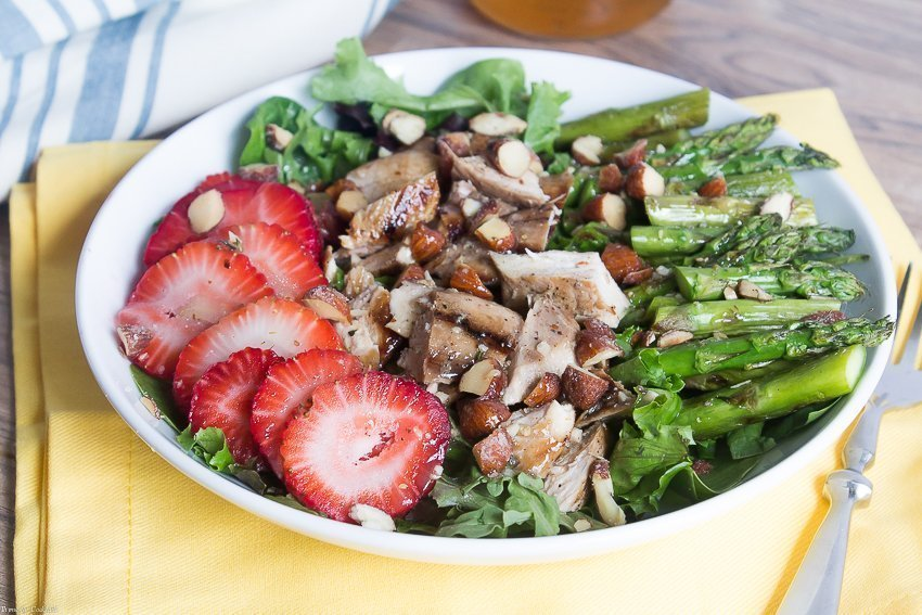 Go beyond the glass and feast on this Grilled Sweet Tea Chicken Salad made with seasonal produce and a sweet tea vinaigrette that doubles as a marinade.