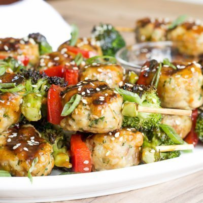Teriyaki Chicken Meatball Skewers