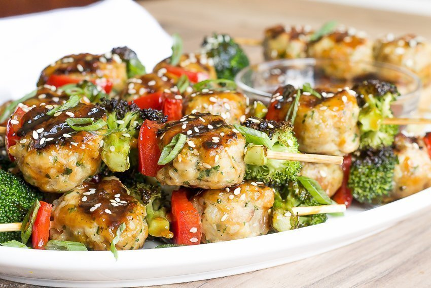 Serve these mouth-watering Teriyaki Chicken Meatball Skewers the next time you get together with friends; these easy skewers are perfect for grill.