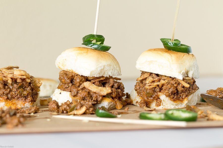 Drunken Garlic Sloppy Joe Sliders recipe horizontal closeup