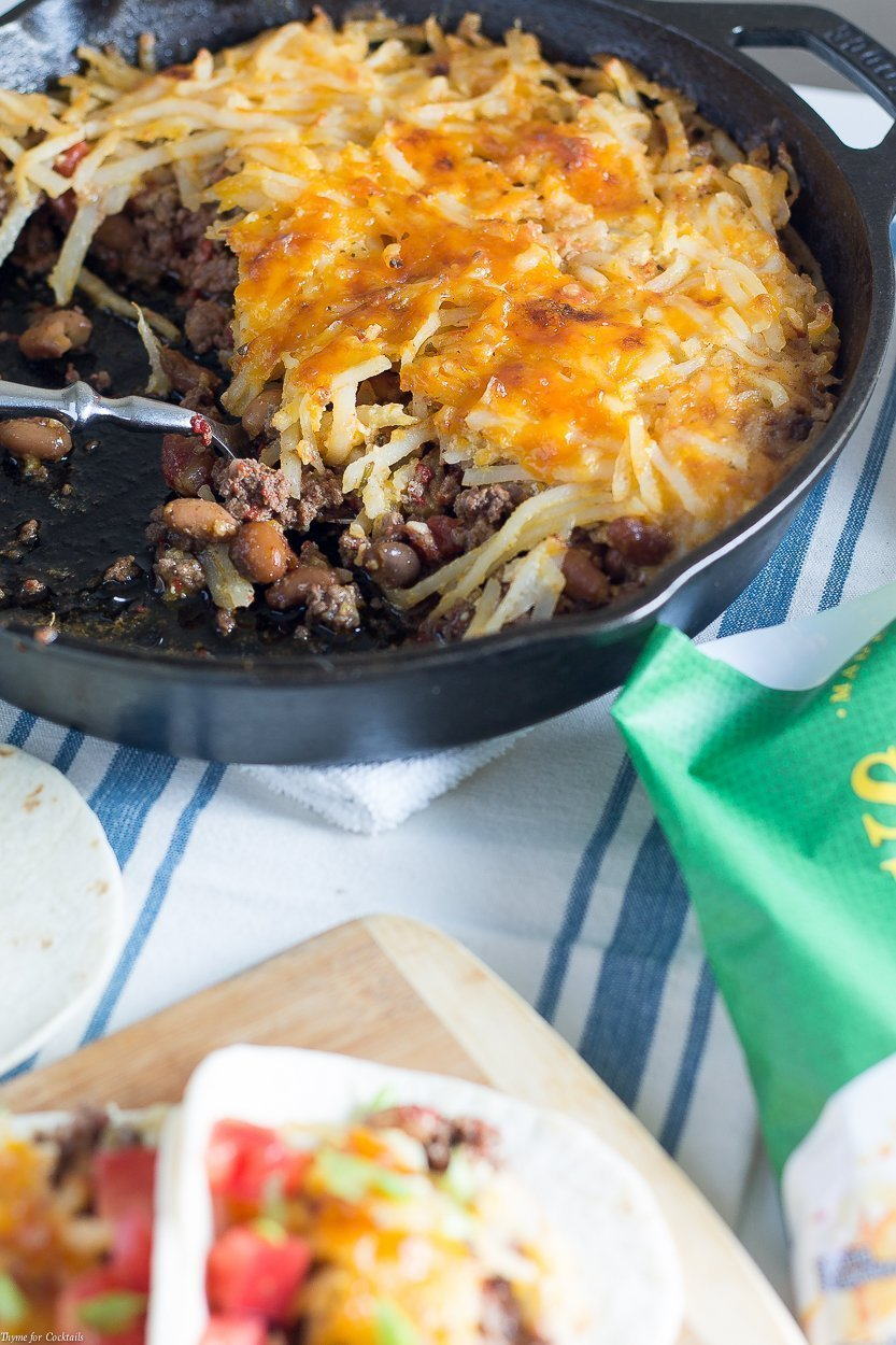 This 10-IngredientHash Brown Taco Skilletrecipe is so easy, flavorful, and cheesy it will be the first recipe you reach for when you want a quick comfort food dish.