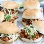 vertical view of Baja Chicken Sloppy Joes Sliders Recipe top bun off