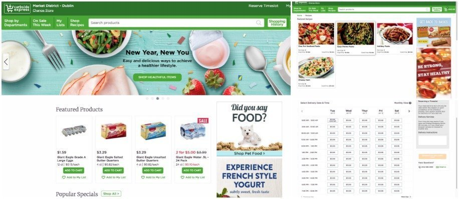 screen shot collage of the Giant Eagle Curbside Delivery website