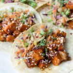 super closeup of Mongolian BBQ Sweet Potato Tacos recipe