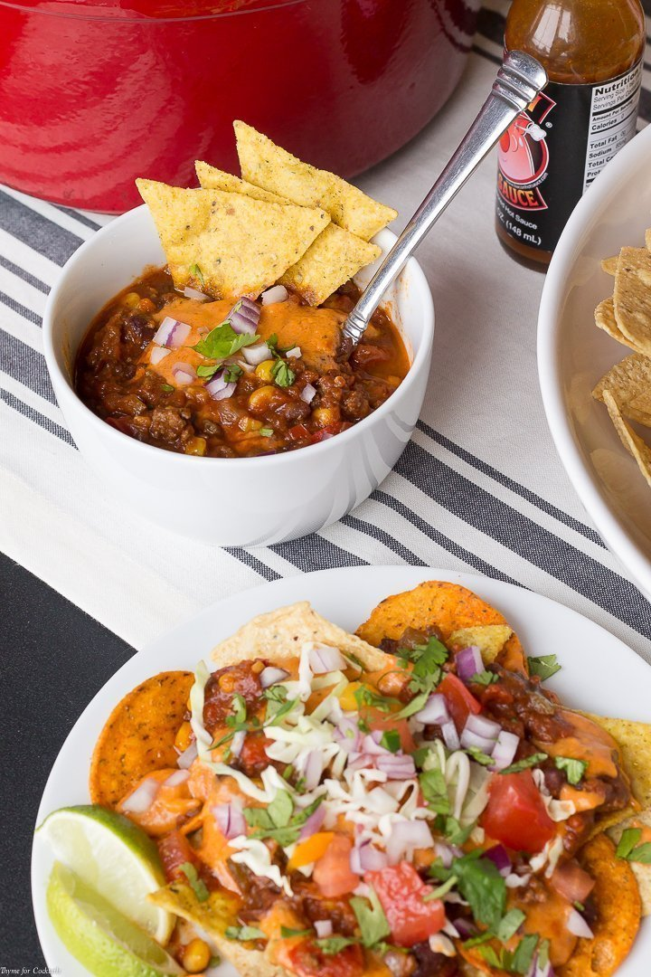 Let your competitive spirit shine when you surprise guests with this Tex Mex Chili Cheese Nacho Bar for your halftime party spread. The 3 Cheese Queso is a real winner too!