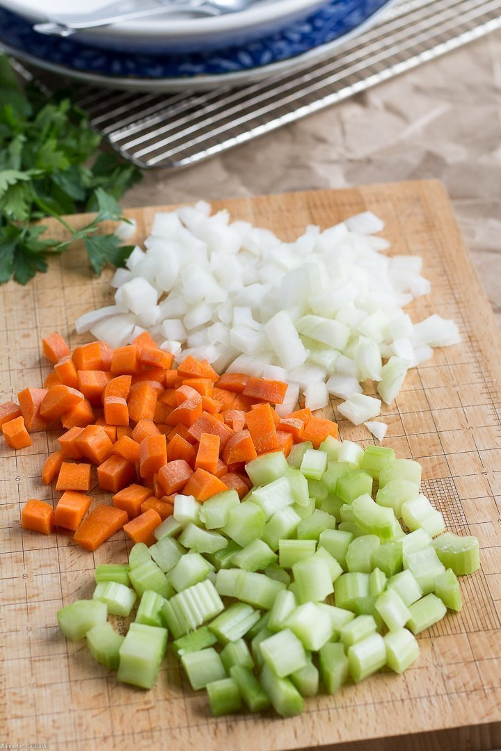 diced carrots, celery, and onions for easy 20-Minute Chicken Orzo Soup