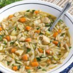 bowl of easy 20-Minute Chicken Orzo Soup