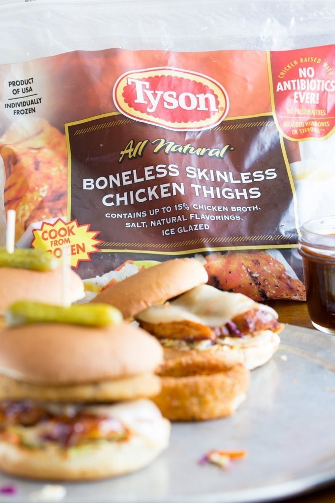 Bourbon Barbecue Grilled Chicken Sandwiches-Tyson-frozen-boneless-skinless-chicken-thighs