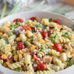 Loaded Fried Chicken Pasta Salad with cherry tomatoes
