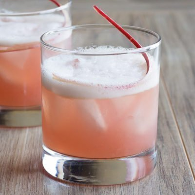 Honey Rhubarb Whiskey Sour