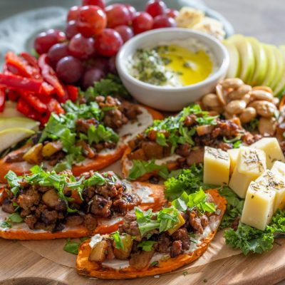 Apple Pork Sweet PotaTOASTS Snack Board