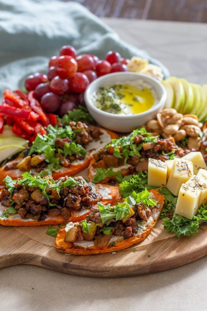 click photo of Sweet PotaTOASTS snack board and link to a $3 coupon off purchase of Sweet PotaTOASTS
